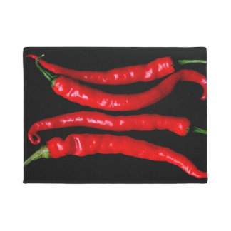 Tapete Doormat vermelho de quatro pimentões