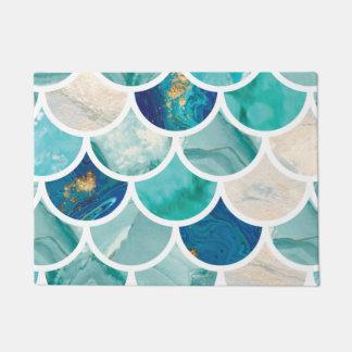 Tapete Escalas de peixes da sereia do mármore de turquesa