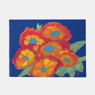 Tapete Esteira azul com flores alaranjadas