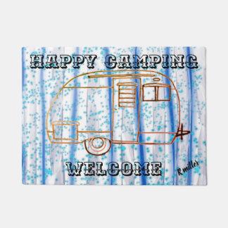 Tapete Esteira bem-vinda de acampamento feliz