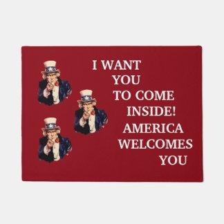 Tapete Esteira bem-vinda patriótica do tio Sam dos EUA