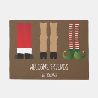 Tapete Esteira bem-vinda temático do Natal com caráteres