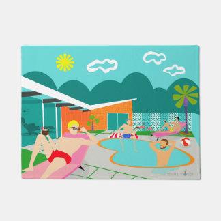 Tapete Esteira de porta alegre retro da festa na piscina