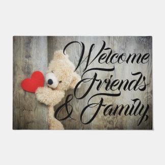Tapete Esteira de porta bem-vinda do ursinho & do coração
