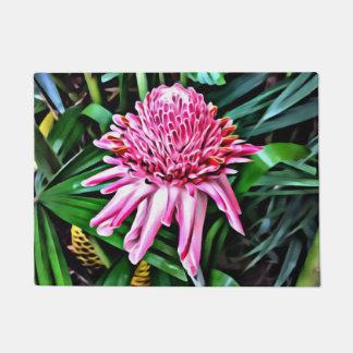 Tapete Esteira de porta cor-de-rosa tropical do gengibre