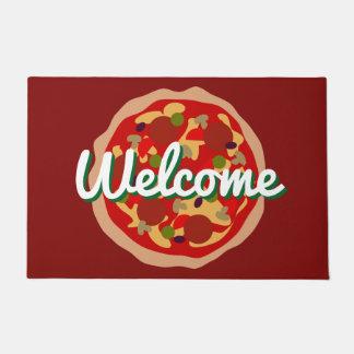 Tapete Esteira de porta da pizza com texto da boa vinda