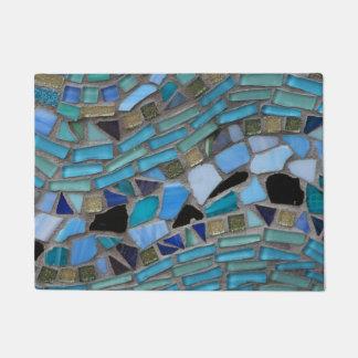 Tapete Esteira de porta de vidro do mosaico do mar azul