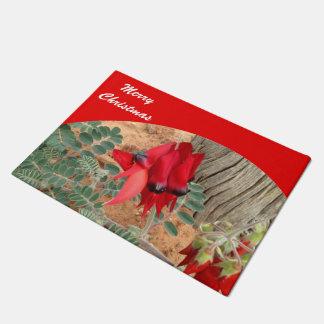 Tapete Esteira de porta do Feliz Natal - vermelho