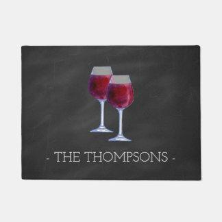 Tapete Esteira de porta personalizada elegante do vinho