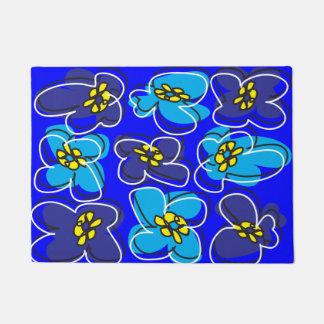 Tapete Esteira de porta retro do Dogwood em azul