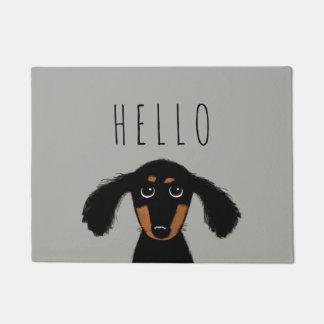 Tapete Filhote de cachorro bonito do Dachshund com texto