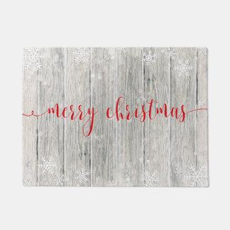 Tapete Flocos de neve de madeira rústicos do Feliz Natal