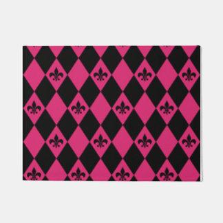 Tapete Flor de lis & teste padrão cor-de-rosa do carvão