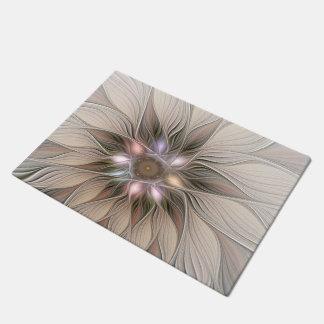 Tapete Fractal floral bege de Brown do abstrato alegre da