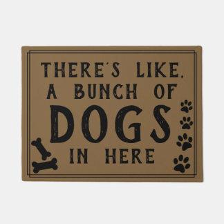 Tapete Há como, muitos cães no amante aqui engraçado do