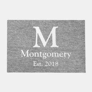 Tapete Herringbone cinzento moderno & monograma branco da