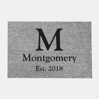 Tapete Herringbone cinzento moderno & monograma preto da