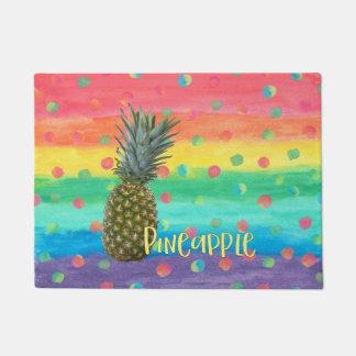 Tapete Listras na moda e pontos do arco-íris do abacaxi
