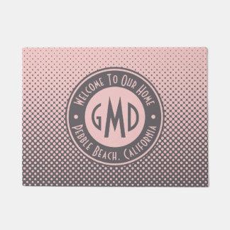 Tapete Na moda cinzento cor-de-rosa milenar do monograma