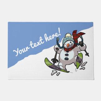 Tapete Natal do boneco de neve do esqui ou desenhos