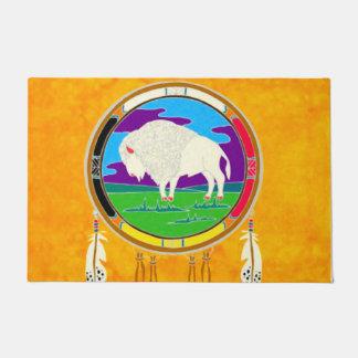 Tapete Nativo americano branco do búfalo esteira de porta
