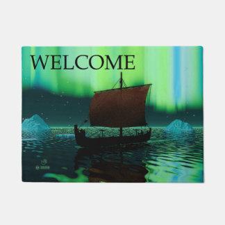Tapete Navio de Viking e aurora boreal - boa vinda