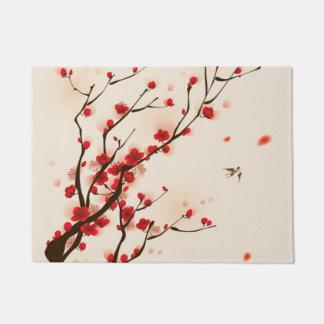 Tapete Pintura asiática do estilo, flor da ameixa no