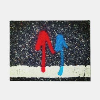Tapete Pintura da marcação de estrada - setas azuis