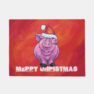 Tapete Porco bonito no chapéu do papai noel no vermelho