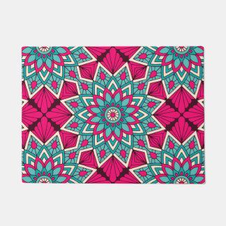 Tapete Rosa e teste padrão floral da mandala de turquesa