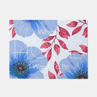Tapete Teste padrão de flores bonito da papoila azul