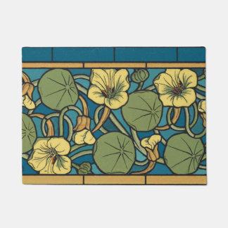 Tapete Teste padrão floral azul e amarelo