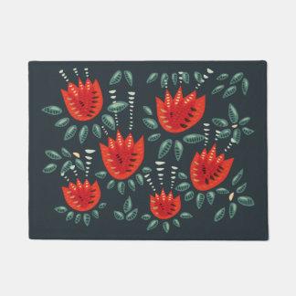 Tapete Teste padrão floral escuro da tulipa vermelha