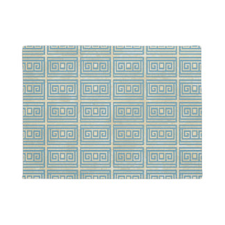 Tapete Teste padrão grego do meandro do azulejo azul do
