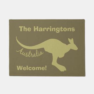 Tapete Texto do canguru de Austrália & esteira de porta