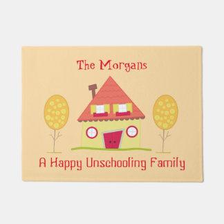 Tapete Uma boa vinda feliz da casa do amarelo da família