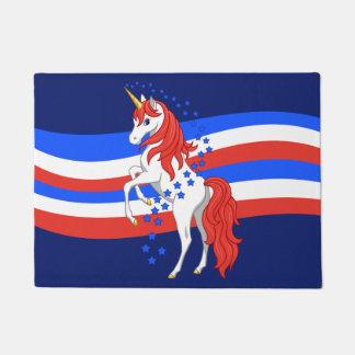 Tapete Unicórnio americano patriótico azul branco