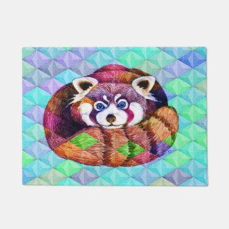 Tapete Urso de panda vermelha no cubism de turquesa