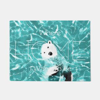 Tapete Urso polar brincalhão no design da água de