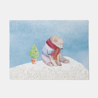 Tapete Urso polar e árvore de Natal na neve