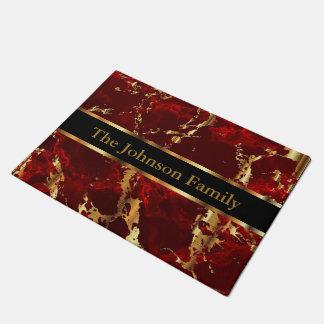 Tapete Vermelho e Doormat de mármore do ouro