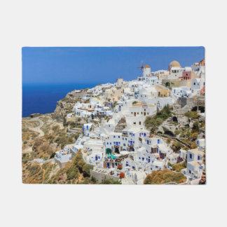 Tapete Vila de Oia na ilha de Santorini, norte, piscina