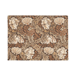 Tapete William Morris floral, castanho chocolate e bege