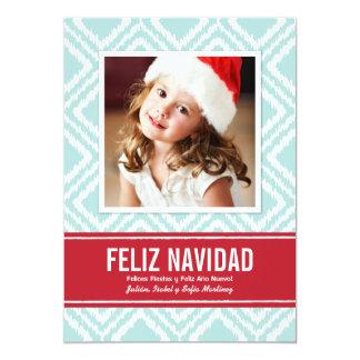 Tarjeta de Navidad de Fotos | Modelo de Ikat Convite 12.7 X 17.78cm