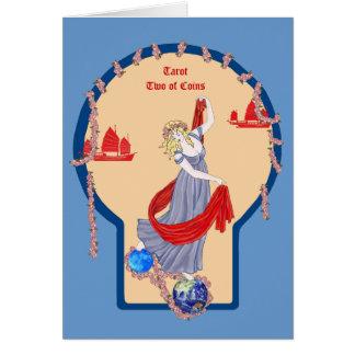 Tarot dois das moedas cartão comemorativo