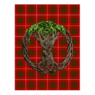Tartan de Bruce do clã e árvore do céltico de vida Cartão Postal