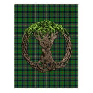 Tartan de Kennedy do clã e árvore do céltico de vi Cartões Postais