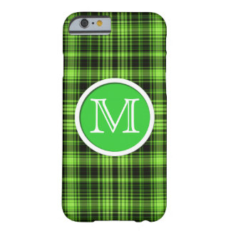 Tartan verde à moda Monogrammed Capa Barely There Para iPhone 6