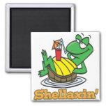 tartaruga bonito de relaxamento fria do shellaxin  imãs de geladeira