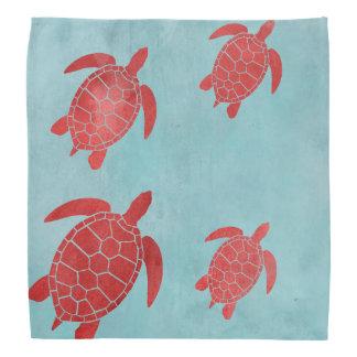 Tartaruga de mar do verde vermelho e azul bandana